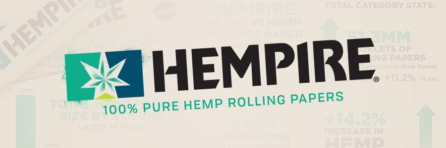 Hempire, 100% pure hemp rolling papers.