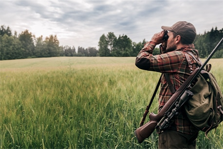 Hunter using binoculars in an open field