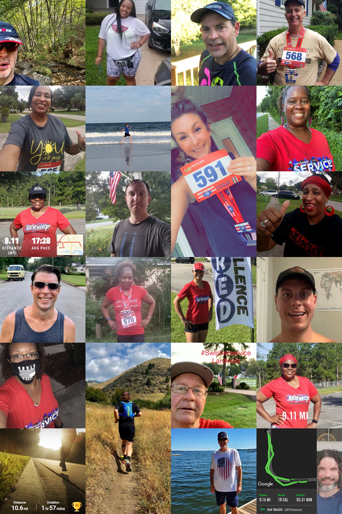 Image collection of runners in the 9/11 Virtual Run Challenge