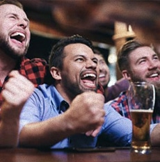 People cheering in a bar